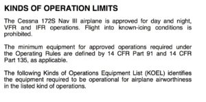 C172S kinds of operations